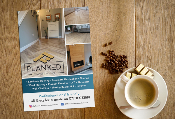 Planked Flooring & Interiors Flyer-on-desk